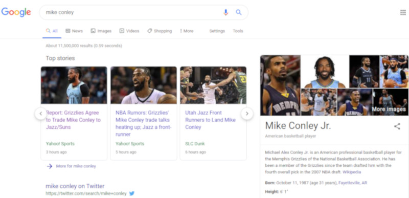 "A Google search for ""Mike Conley"" Monday, June 17 picked up a pre-posted ""Jazz/Suns"" trade story."