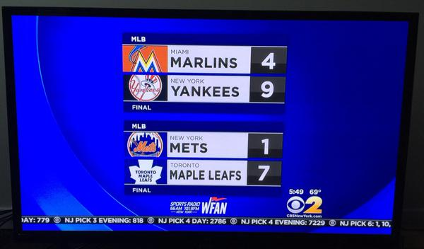 CBS New York uses Maple Leafs logo for Blue Jays