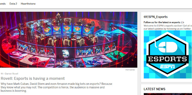 ESPN's new eSports vertical furthers their stride into that