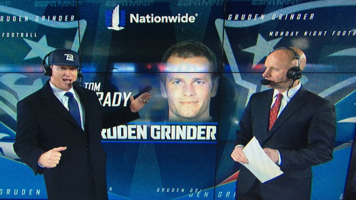 Jon Gruden wore a Tom Brady hat after Monday's Patriots game