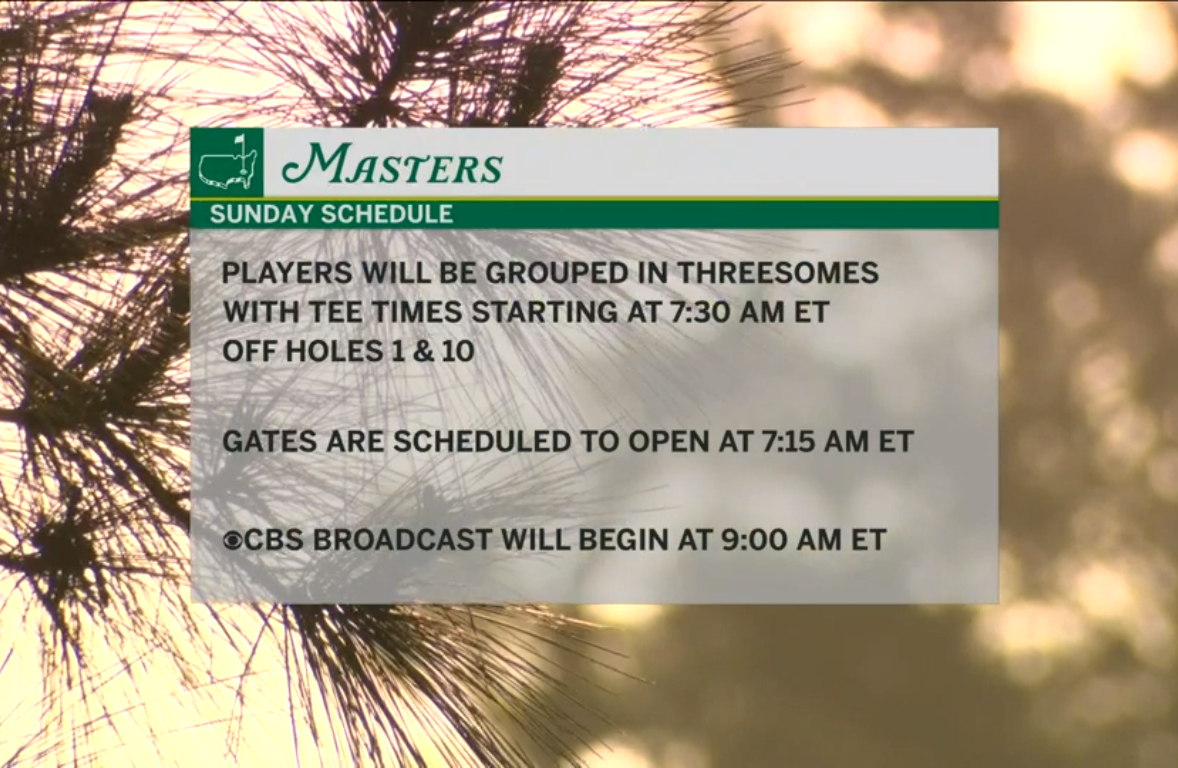 Weather forecast pushes final round Masters tee times up on