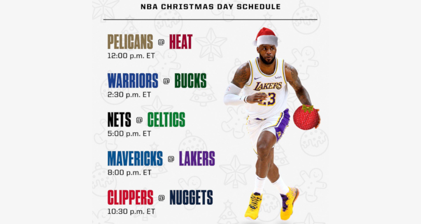 NBA Christmas Day games will include Mavericks Lakers and Nets Celtics